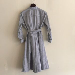 J. Crew Dresses - J Crew Blue White Striped Tie Waist Shirt Dress, 6